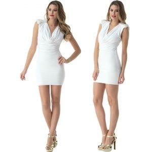 Sky ☾ Tino Rabbit Fur Trim ☾ Mini Dress ☾ White